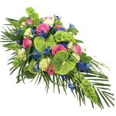 Lime and Pink Casket Arrangement