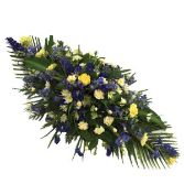 Blue and Yellow Casket Arrangement